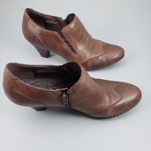 Born wingtip brown leather booties